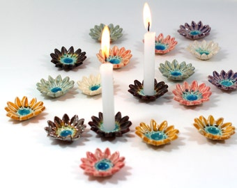 Flowers candlestick Ceramic flowers Candle holders Holiday decor Shabbat candle holder Shabbat candlesticks