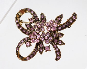 Pink Rhinestone Floral Bow Pin Vintage