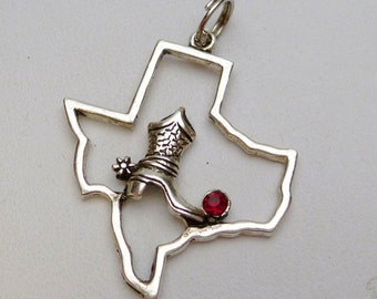 Texas State Outline with Cowboy Boot Charm Sterling Silver