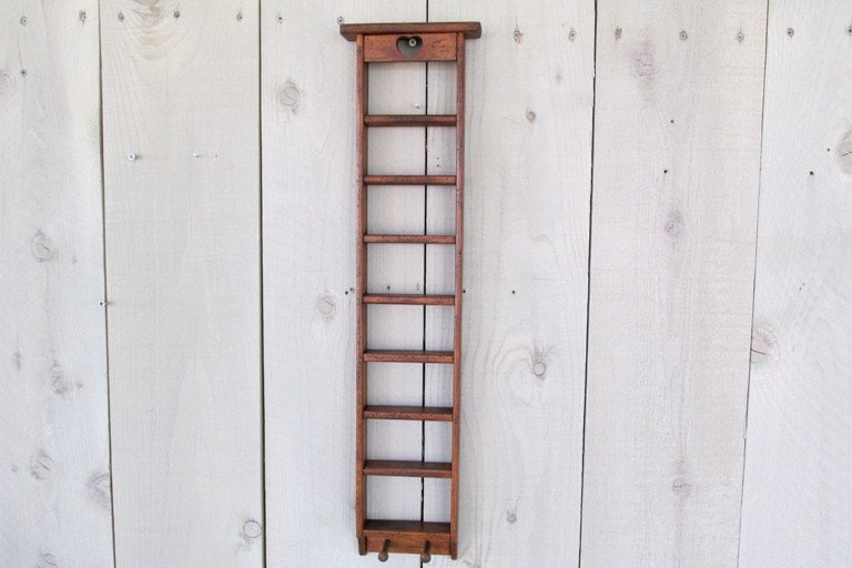 Wood Ladder Shelf Distressed Walnut Finish