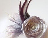 SILVER Rose Flower and Feather Hair Fascinator Clip with Skeleton leaves and Rhinestone Jewels
