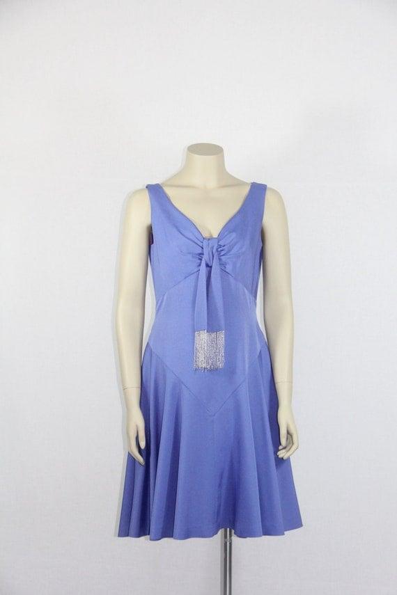 1960's Vintage Dress -  Purple DESIGNER Lilli Diamond - Mini Flirty Summer Cocktail Party Frock - 36 / 30 / full
