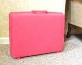 """Vintage Samsonite Pink Suitcase -- 1960s """"Samsonite Saturn"""" Medium Suitcase in Barbie bubble gum Pink"""