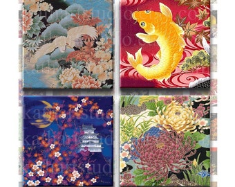 Instant Download - Asian Floral Collage Sheet 1 inch for pendants, jewelry, stickers, glass tile, hair bows, magnets. 349