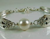 Bracelet made out of Antique Silverware and Swarovski Crystal Pearl