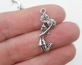 BULK 50 Cheerleader charms antique silver tone SP89