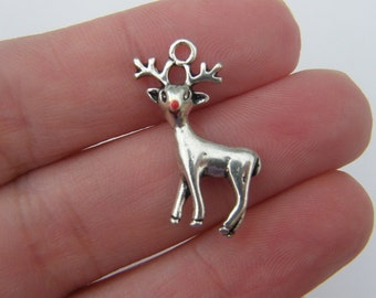 4 Reindeer pendants antique silver tone CT24