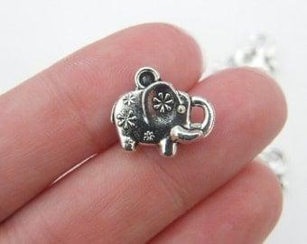 BULK 50 Elephant charms antique silver tone A534