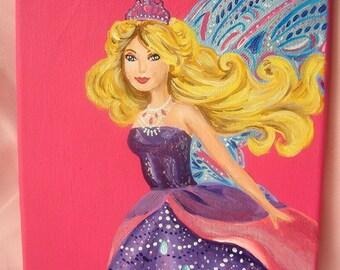 Barbie Fairy Princess Art Work Painting - on Canvas