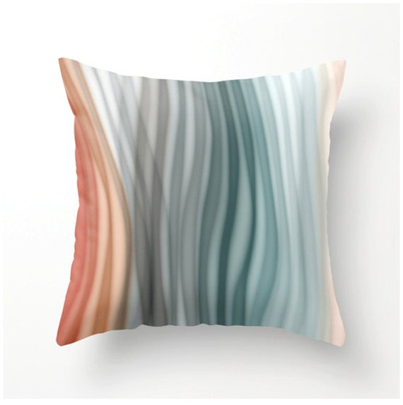 Soft Decorative Throw Pillows : SOFT PASTEL BANDS decorative pillow aqua gray grey by BonnieBruno