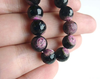 Black and Pink Agate Faceted 7mm Round Gemstone Beads - Pair - Tagt Team