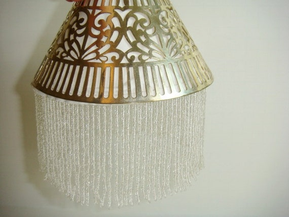 Vanity Light Wood Metal With Punched Tin Lamp Shades: Vintage Pierced Metal And Beaded Lamp Shade By Kleymannscloset