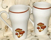 Vintage Bone China Latte Coffee Mugs Cups Mushrooms