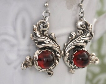THE WATER DRAGON antiqued silver Victorian style earrings with vintage ruby red bullet tip glass jewels