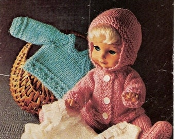 Doll's Knitting Pattern for Small Baby or Doll  Layette Matinee Jacket Sweater Bonnet - 12 inch height