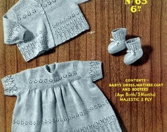 Download PDF - Baby KNITTING PATTERN - Dress, Jacket/Coat and Bootees/Booties - 0 to 3 months