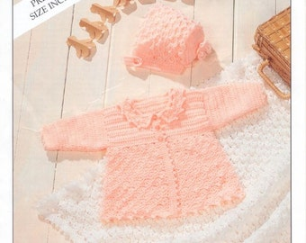 BABY CROCHET PATTERN - Matinee Jacket, Bonnet, Booties and Shawl - Prem sizes 14 ins to 18 ins
