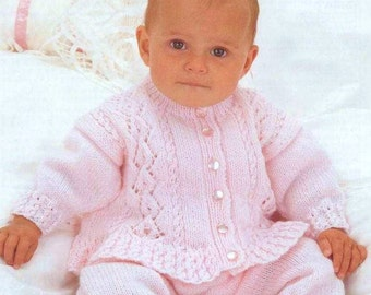 Baby Knitting PATTERN - Sweater/Jacket and Trousers 16 - 22 ins chest