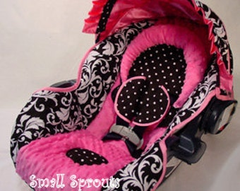 Boutique Black Damask Hot Pink Orbit g1 & g2 with paparazzi shade Infant Car Seat Cover-ready to ship