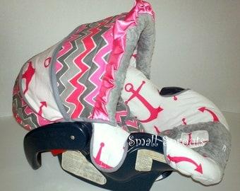 Sailor Girl Hot Pink and Grey/Grey Minky Dot Infant Car Seat Cover 5 piece set