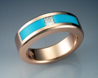 14k rose gold, diamond, and Turquoise woman's ring