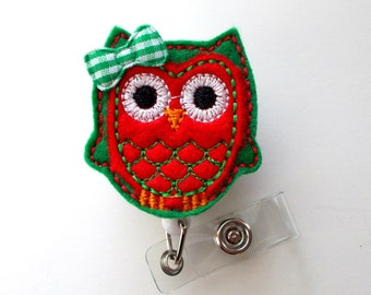 Ms. Christmas Owl - Retractable ID - Name Badge Holder - Felt Badge Holder - ID Badge Holder - Cute Badge Reel - Nursing Badge