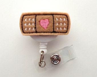 Bandaid - Retractable ID Badge Reel - MD Badge Holder - Cute Badge Reel - Nurse Badge Holder - Nursing Badge Clip - Felt Badge