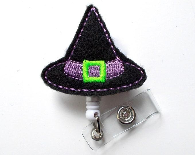 Witch Hat Purple - Unique ID Badge Reel - Halloween Badge Holder - Teacher Badge Reel - Nurse Badge Holder - Nursing Badge - Felt Badge - RN