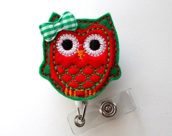Ms. Christmas Owl - Retractable ID - Name Badge Holder - Felt Badge Holder - ID Badge Holder - Cute Badge Reel - Nursing Badge