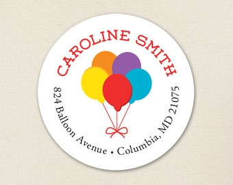 Balloons Address Labels - Sheet of 24