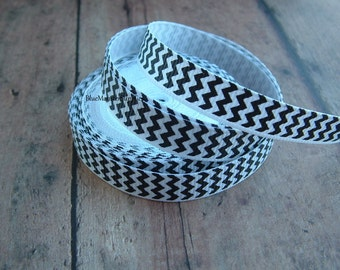 5 Yards 3/8 Inch White and Black Chevron Grosgrain Ribbon