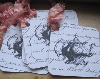 french market teapot tags set of 6