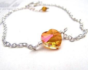 Simple Jewelry Adjustable Silver Bracelet Astral Pink Swarovski Crystal Heart Jewelry