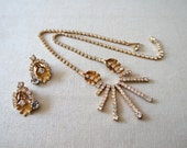 Reserved - Do not purchase - Vintage Signed Weiss Necklace and Earring Set | Vintage Floral Rhinestone Costume Jewelry