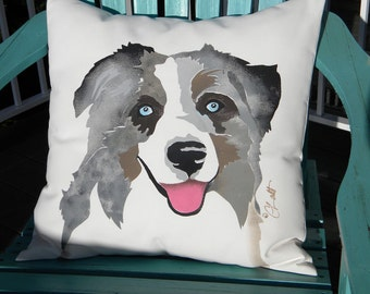 "Dog pillow Australian shepherd Aussie 20"" (50cm) outdoor ranch rodeo smiling dog best friend canine pet herding"