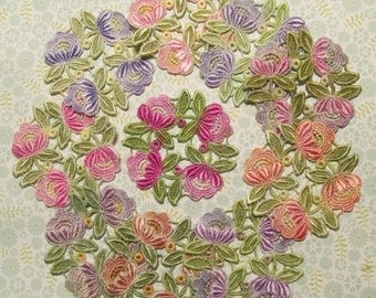 Flower Wreath Crazy Quilt Lace Hand Dyed Venise Lace Pink Purple Yellow Applique Mixed Media