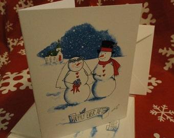 Snow Bride & Groom Note Cards