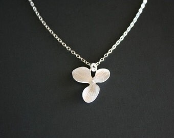 Flower simple necklace,Cute orchid necklace - Sterling Silver, flower girls necklace, jewelry , birthday gift, silver necklace