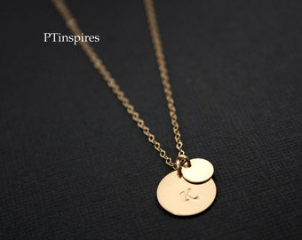 Mom and child Initial Necklace Gold Filled or Sterling Silver, everyday wear, Mom's necklace, Birthday Mother's Day, Christmas gift for Her