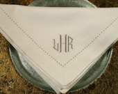 4 Monogrammed 20x20 Hemstitched Napkins in the Octagonal Font