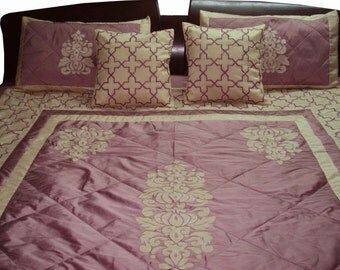 vintage lilac duvet cover in size 108x90 inches with 2 pillow cases and cushion covers