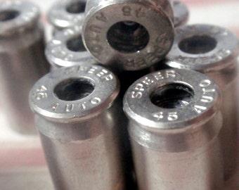 bullet casings 10 Primerless 45 cal nickel casings