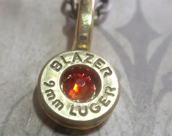 9mm bullet casing necklace brass Bullet necklace bullet casing  with Orange Fire Opal crystal Limited Edition