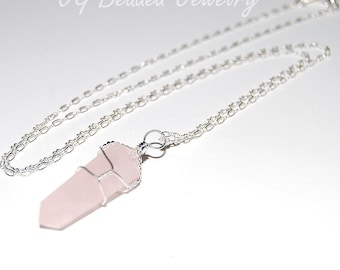 Long Rose Quartz Crystal Necklace, 24 Inch Rose Quartz Silver Necklace, Gemstone Necklace, Love Stone