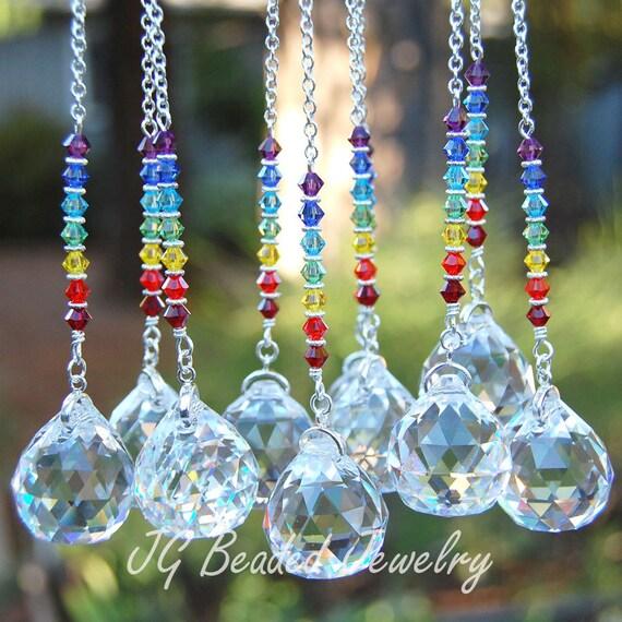 Swarovski hanging rainbow prism crystal by jgbeadedjewelry for Swarovski decoration crystals