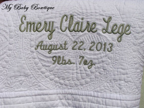 Monogrammed White Infant Quilt -  Personalized / Monogrammed / Embroidered Cotton Baby Blanket