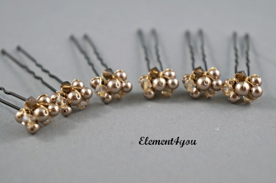 Bridal Hair Pins Champagne Gold Brown Swarovski Crystals Pearls Bridesmaid Accessories Fall Flower Girl Beaded Fall Wedding Bride hair piece