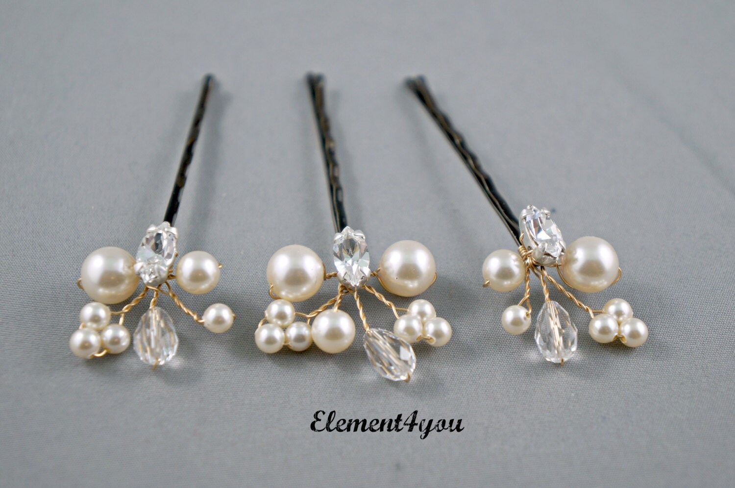 Pearl Hair Clips Bridal Hair Pins Wedding Hair By Element4you