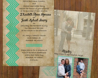 Chevron Wedding Invitations - rustic with 3 pictures (132)