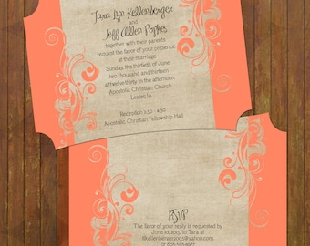 Coral Wedding Invitations - Boutique Cut (133)